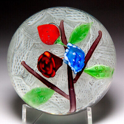 Chinese flowers on white upset muslin glass paperweight
