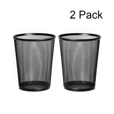 2 Pcs Large Pen Holder Pencil Holder Mesh Metal Desk Organizer Black