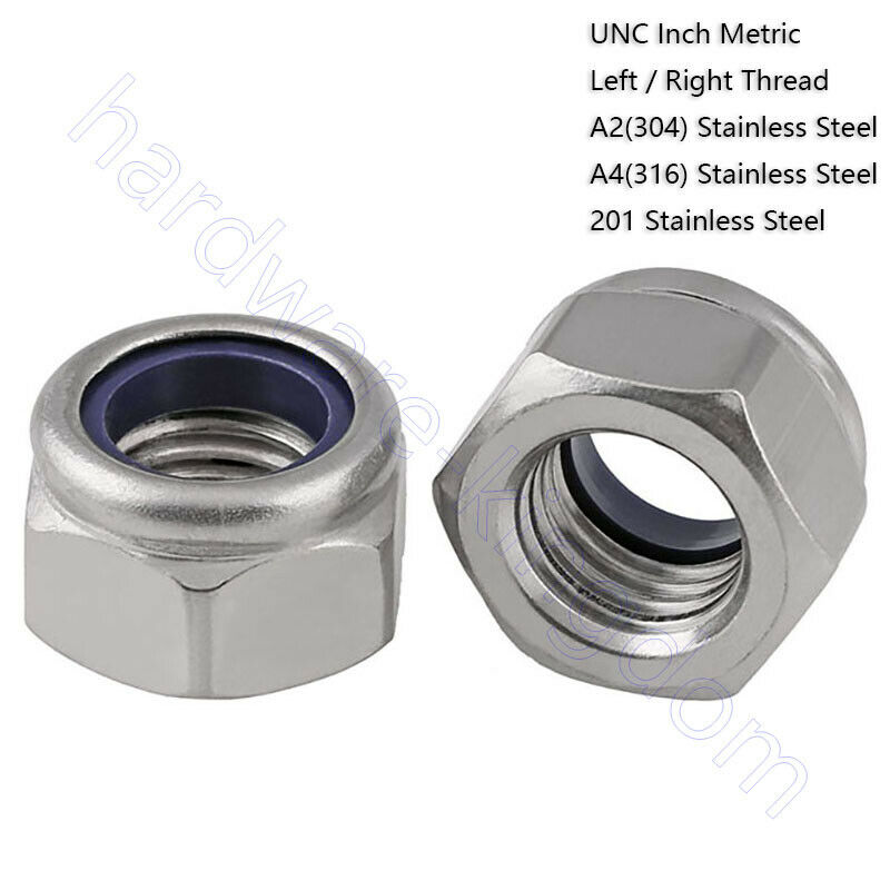 UNC Inch Metric Nylon-Insert Locknuts 201 A2 A4 Stainless Left / Right Thread