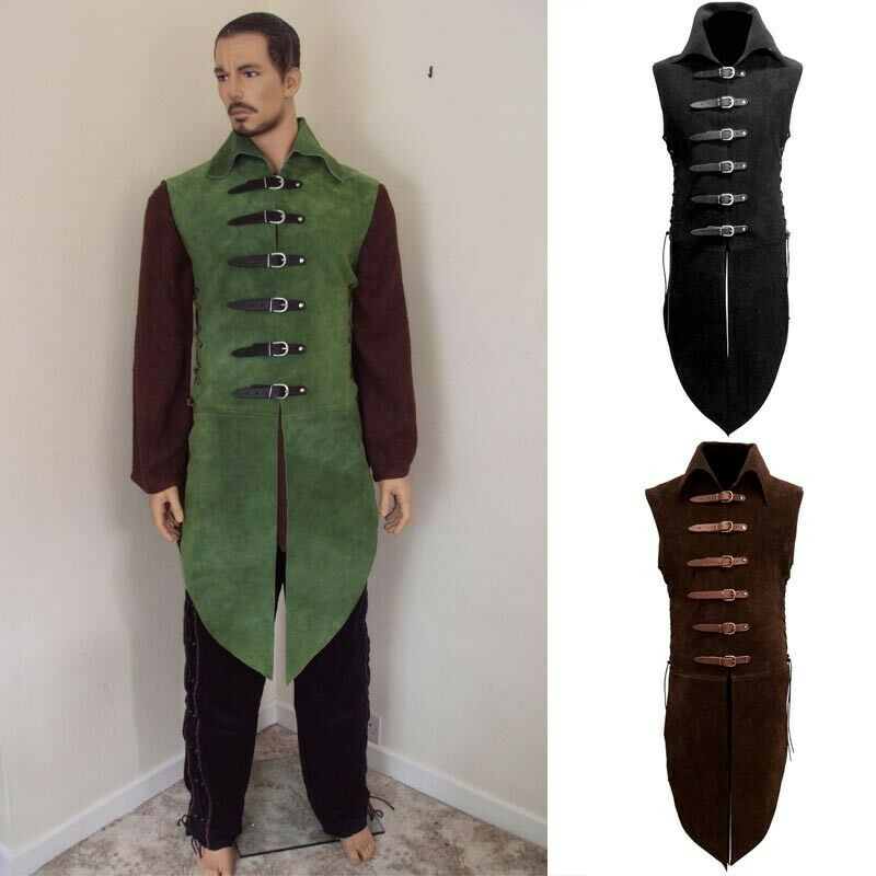 Adjustable Suede Collared Jerkin with Leather Straps Theatre and Costume or LARP
