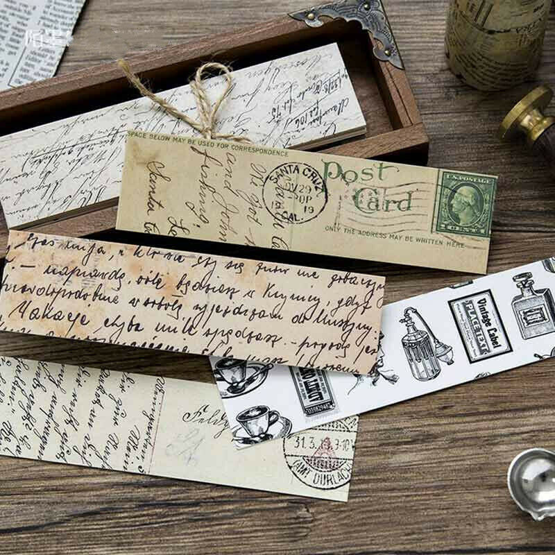 30pcs/Box Vintage Bookmark Magazine Label Memo Paper Book Mark Office Stationery