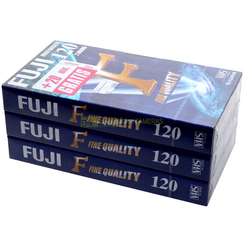 Lotto N° 3 Fuji E120 F Videocassetta VHS Fine Quality sigillate Vergini (6 ore)