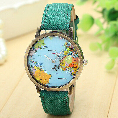 WOMAN DRESS WATCHES FASHION GLOBAL MAP STAINLESS STEEL QUARTZ ANALOG WRIST WATCH