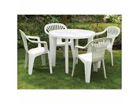 White plastic round table and 4 X chairs £20 ONO - COLLECTION ONLY