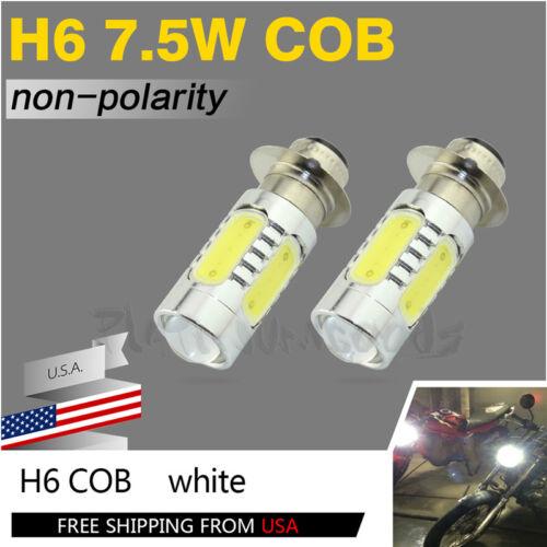 2pcs H6M P15D 6000K Xenon White ATV Motorcycle COB LED Headlight Bulbs Lamp