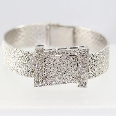 Vintage 14k White Gold Diamond Ladies Covered Angelus Wristwatch