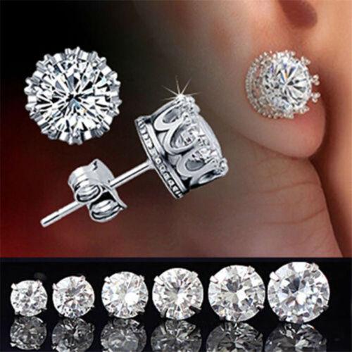 Vintage Women Men Silver Crystal Crown Charm Ear Studs Earri