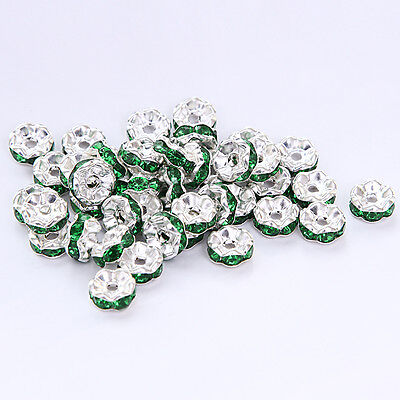 Free shipping 20pcs 8MM Plated silver crystal spacer beads Jewelry Making No.60