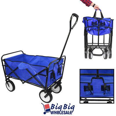 Beach Wagon Cart Kid Folding Storage Camping Trolley Garden Utility BLUE
