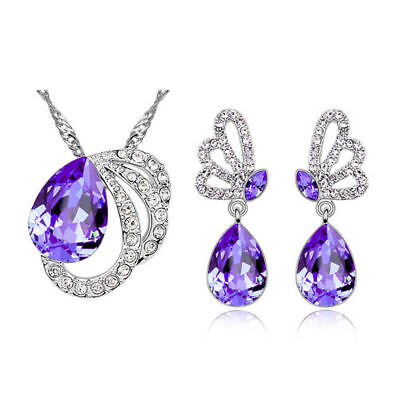 - Jewelry Set Butterfly Mystical Purple Amethyst Gemstone Silver Pendant Earrings