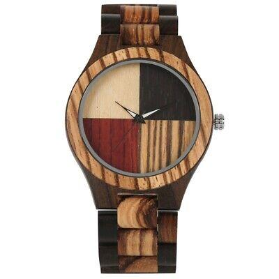 Luxury Sandalwood Men's Wood Watch Quartz Watches Mixed Color Wooden Bracelet Teens Wooden Bangles
