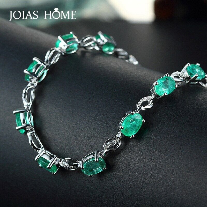 Emerald Gemstone Bracelet 925 Sterling Silver Women Luxury Jewelry Wedding Gift