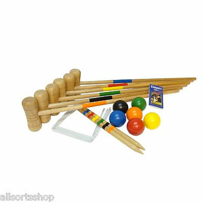 Bex 79cm LAWN CROQUET SET. 6 PLAYER, 6 MALLETS, 6 BALLS. RUBBERWOOD OUTDOOR GAME