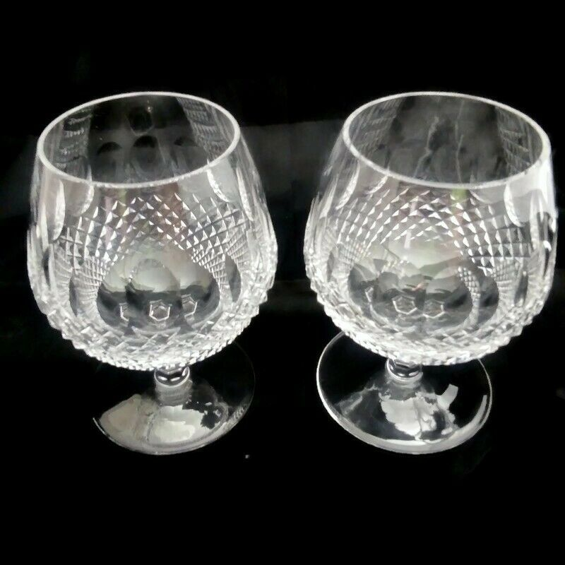 "Waterford Crystal Colleen Pair of Large Brandy Glasses- 5 1/8"" 12 oz- Exquisite!"