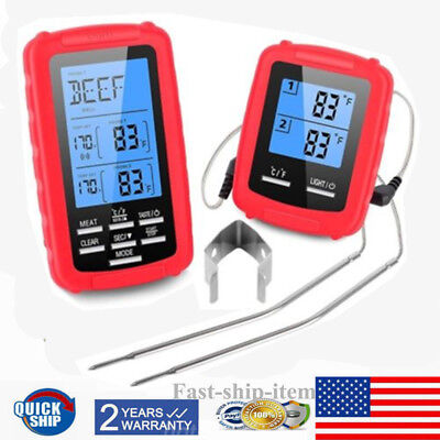 BBQ MEAT Tool Cooking Thermometers Wireless Remote Digital Thermometer  RED