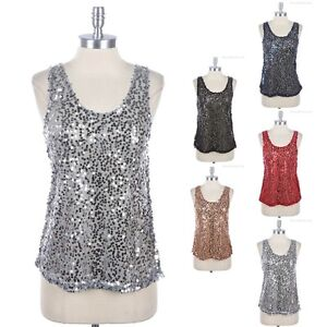 Womens-Glittering-Full-Mesh-Shiny-SEQUINS-Tank-Top-Sleeveless-Round-Neck-S-M-L