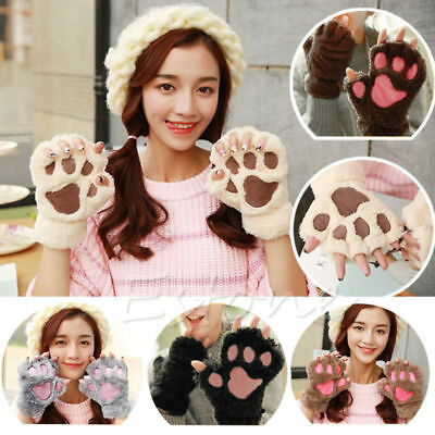 Winter Women Cute Cat Claw Paw Plush Mittens Short Fingerless Gloves Half Finger - Cat Paw Gloves