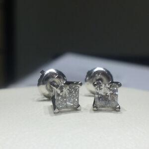 14K Certified Canadian Mined Princess Cut Diamond Studs