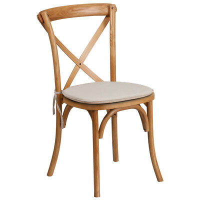 Bistro Style Cross Back Oak Wood Stack Restaurant Wedding Chair With Cushion