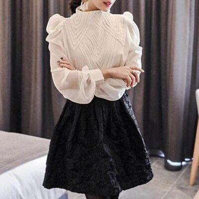 Chiffon Frill Sleeve Top (Lady Chiffon Victorian Shirt Blouse Top High Neck Frill Lantern Sleeve Retro New)