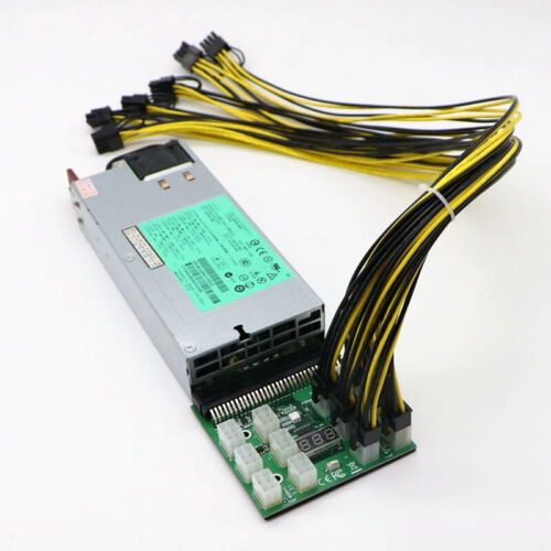 1200w HP server power supply with breakout board and 12 6 pin to 6+2 pin cables