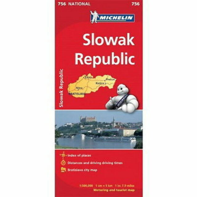 Slovak Republic Michelin National Map 756 Motoring Tourist Map