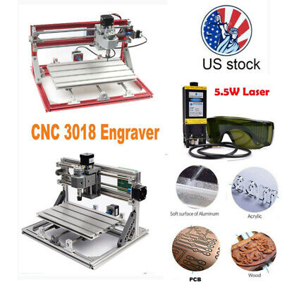 3018 Cnc Machine Router Diy Engraving 5.5w Laser Moudle Pcb Wood Carving Milling