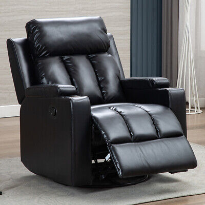 Swivel Glider Recliner Chair Ergonomic Leather Overstuffed Sofa with Cup Holders