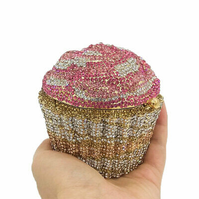 Designer Cupcake Clutch Women Crystal Evening Handbags Bridal Wedding Purse Bag