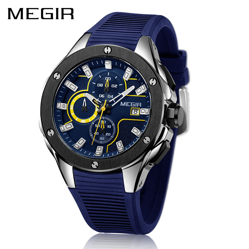 $22.99 - MEGIR Luxury Men Sport Watch Silicone Strap Quartz Army Military Wristwatches