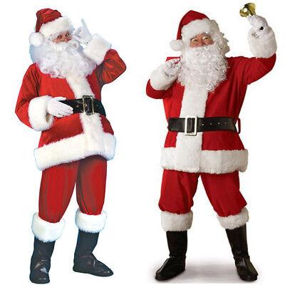 Verkleidung Kostüme (7tlg.Set Weihnachtsmann Kostüm Verkleidung Santa Claus Nikolauskostüm für Herren)