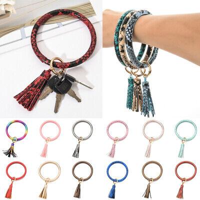 Women Round Wristlet Keyring Tassel Bracelet PU Leather Bangle Keychain