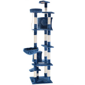 "Brand New: 80"" Dual Condo Cat Tree in Navy Blue"