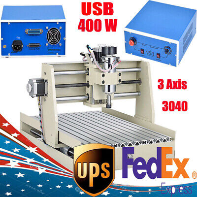 3 Axis Cnc Router 3040 Engraving Milling Machine Cutter 3 Rotating Axis Usb Port