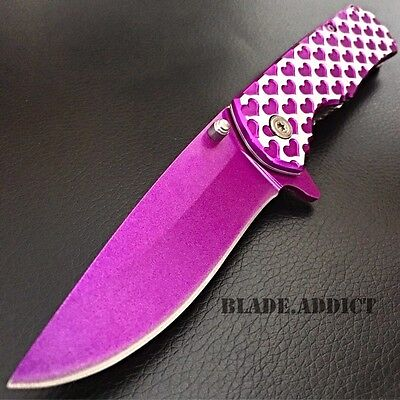 Valentines Day Gift Ladies Purple Heart Spring Assisted Open Pocket Knife Women