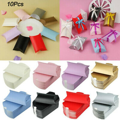 Pillow Favor Box - 10 PCS Pillow Favor Gifts Box Wedding Party Favour Kraft Paper Candy Boxes