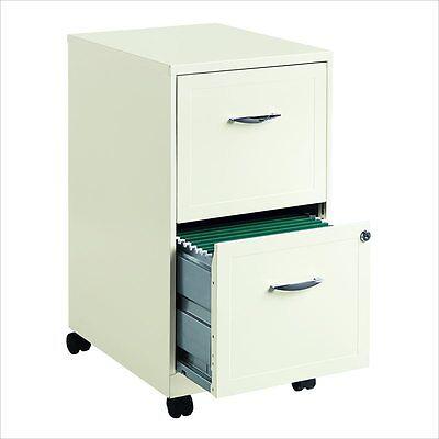 Filing Cabinet File Storage 2 Drawer Steel Vertical Hanging File Mobile In White