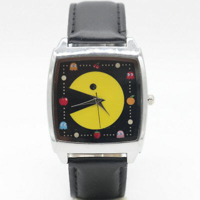 Pac-Man Cultural Iconic Symbol Black Square Genuine Leather Band Wristwatch for sale  Mahwah