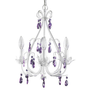 Brand New White Chandelier with Purple Crystals, 4 Lights