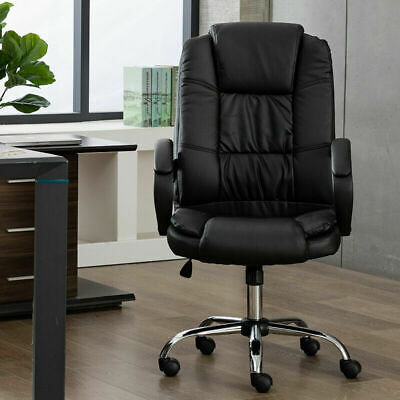Office Chair Black Pu Soft Leather Executive Ergonomic Computer Desk