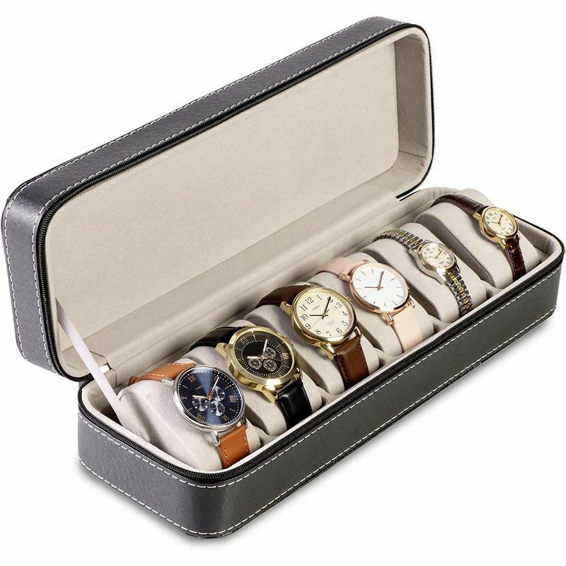6 Slot Leather Watch Box Storage Holder Organizer Jewelry Bracelet Display Case