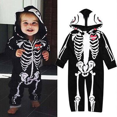 Baby Kleinkind Skelett Kostüm mit Kapuze für Halloween und Fasching - Kleinkind Und Kind Kostüm
