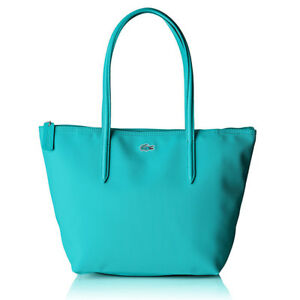 Lacoste Women S L 12 Concept Small Zip Tote Bag Tiffany Blue