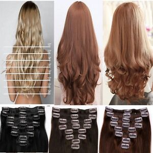 UK-Real-Thick-8-Piece-Full-Head-Clip-In-Hair-Extension-Extensions-For ...