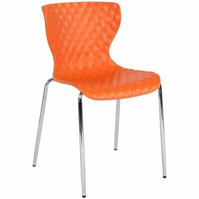 Flash Furniture Lowell Plastic Dining Side Chair in Orange and Chrome