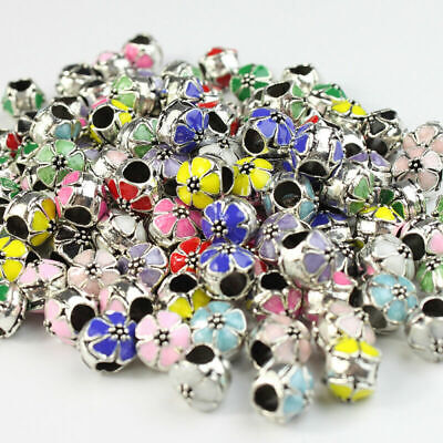 Charms For Bracelets Wholesale (Wholesale Enamel Flower Silver Big Hole Spacer Charm Beads for European)