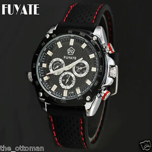 Fuyate Mens Sports Watch - Black Textured Dial - Black Rubber Strap w/ Red Strip