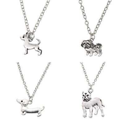 Retro Cute Dachshund Pug-Dog Silver Pendant Necklace Fashion Jewelry Charm Gift