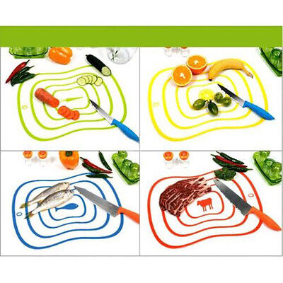 (4Color Flexible Fruit Vegetable Meat Cutting Chopping Board Mat Kitchen Tool NEW)