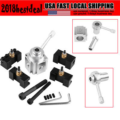 New Aluminum Alloy Quick Change Mini Lathe Tool Post And Holder Kit Set Us Stock